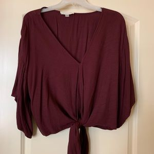 Burgundy Size Large Tie Front Blouse